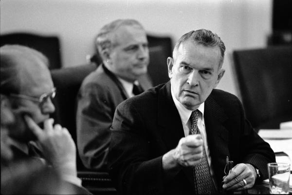 President Gerald Ford, Deputy Secretary of Defense William Clements, and Secretary John Marsh attend a meeting of the National Security Council in the White House Cabinet Room, 6/17/976.