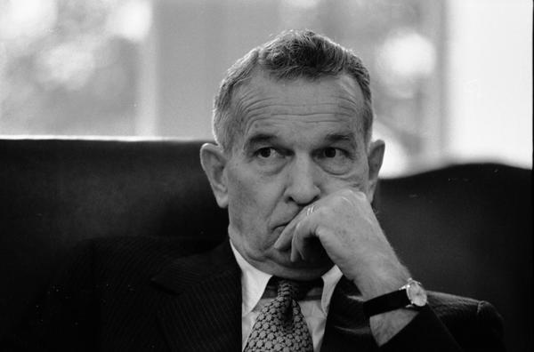 Deputy Secretary of Defense William Clements attends a meeting of the National Security Council in the White House Cabinet Room, 6/17/976.