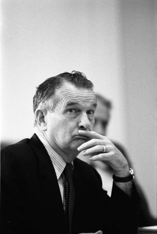 William Clements attends a National Security Council Meeting regarding the seizure of the SS Mayaguez in the White House Cabinet Room, 5/14/1975.